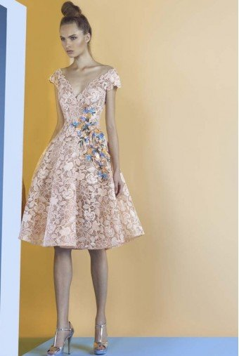 Gemy Maalouf Peach Color V Neck Midi Fit Flare Lace Party Dress