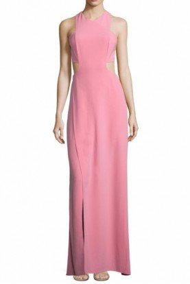 Crepe Cut Out Pink Evening Gown