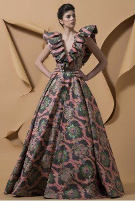 Multi Color Gamelotal A Line Ball Gown