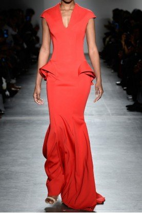 John Paul Ataker Red Peplum Gabardine Evening Gown