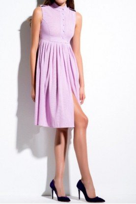 Pink Sleeveless Pleated Cocktail Dress