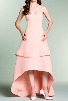 John Paul Ataker Sleeveless High Low Structured Gown Light Salmon