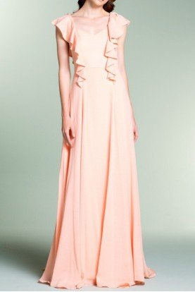 Blush Pink Sleeveless Jacquard Evening Gown
