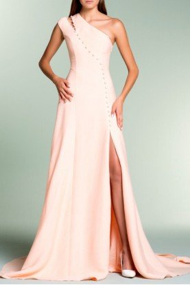 Light Salmon One Shoulder Jacquard Evening Gown