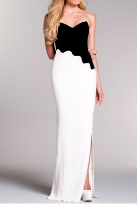 Strapless Contrast Color Block Jacquard Gown