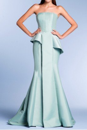 Strapless Structured Taffeta Gown in Light Green