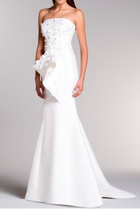 John Paul Ataker Strapless Structured Taffeta Gown in Off White
