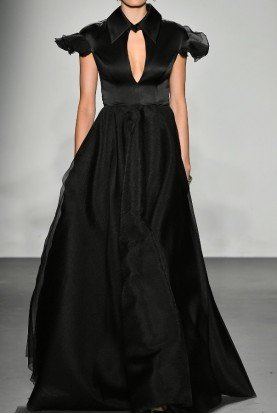 Black Short Sleeve Satin Organdy Gown