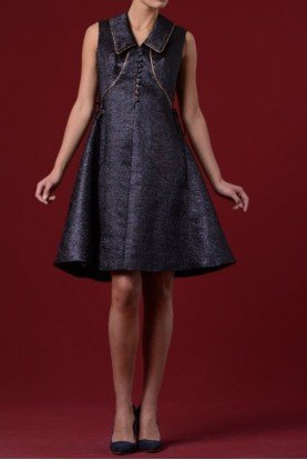 Sleeveless Metallic Jacquard Bell Dress