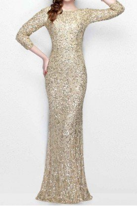 Primavera Couture Long Sleeved Sequined Evening Gown Champagne Gold