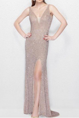 Blush Sequin Sparkly Long Evening Gown Dress 3021