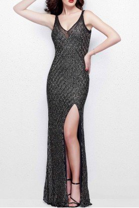 3017 Long Beaded Dress in Black Multi
