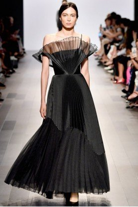 Organza Taffeta Pleated Black Strapless Gown