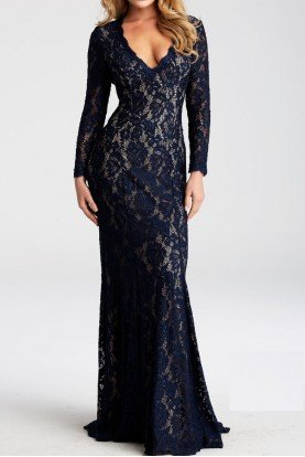 Long Sleeve Navy Lace V Neck Gown JVN55158A