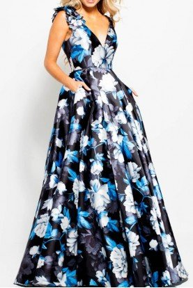 Jovani V Neck A Line Blue Floral Gown Prom Dress