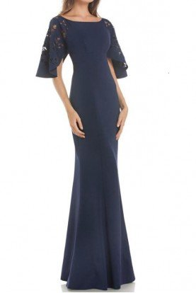 Dark Blue Fitted Stretch Satin Evening Gown
