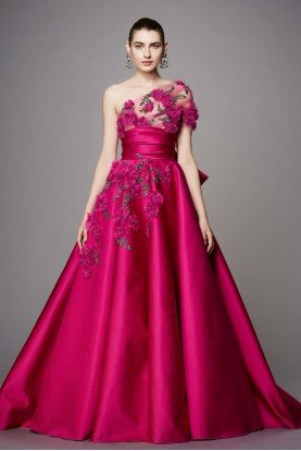 One Shoulder Flower Duchess Satin Ball Gown