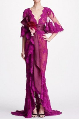 Corded Lace Cape Sleeve Gown