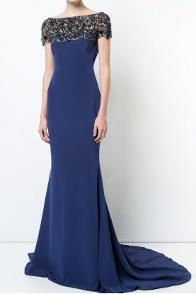 Royal Blue Fitted Silk Crepe Gown