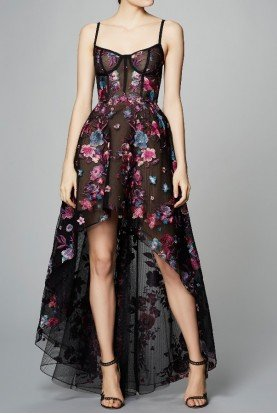 Floral Corset Tulle High Low Gown