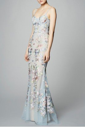 Sleeveless Embroidered Tulle Gown in LightBlue