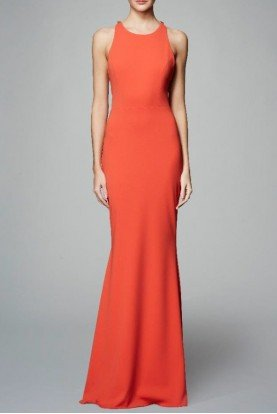 Sleeveless Stretch Crepe Open Back Evening Gown