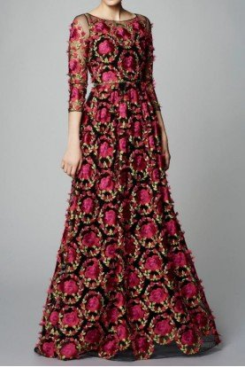 Quarter Sleeve Flower Embroidered Evening Gown