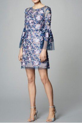 Quarter Sleeve Flower Embroidered Mini Dress
