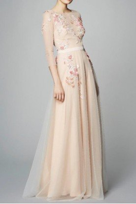 Quarter Sleeve Blush Beaded Tulle Evening Gown