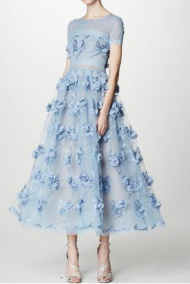 Marchesa Notte Light Blue 3D Floral Midi Tea Dress