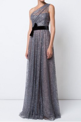 Gunmetal Gray Tulle One Shoulder Evening Gown