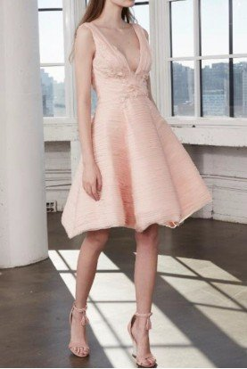 Blush Pink Petal A Line Chiffon Party Dress