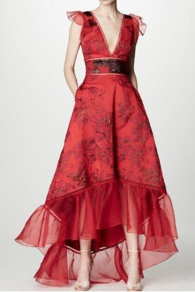 Marchesa Notte Red Floral Metallic Brocade High Low Gown