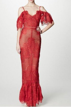 Marchesa Notte Red Off the Shoulder Lace Guipure Evening Gown