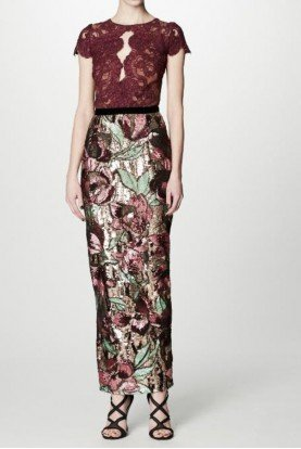 Multi Floral Sequin Midi Tea Dress