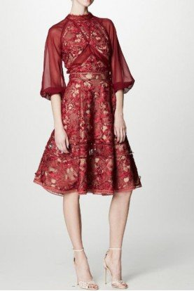 Marchesa Notte Chiffon Sleeve Guipure Cocktail Dress