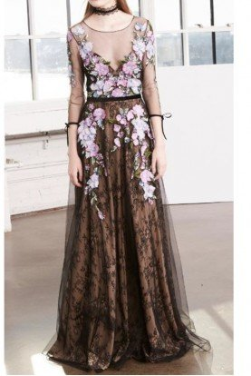 Black Quarter Sleeve Floral Tulle Evening Gown