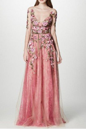 Pink Quarter Sleeve Floral Tulle Evening Gown