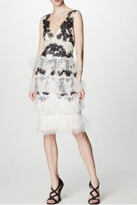 Marchesa Notte Sleeveless Ivory Embroidered Cocktail Dress