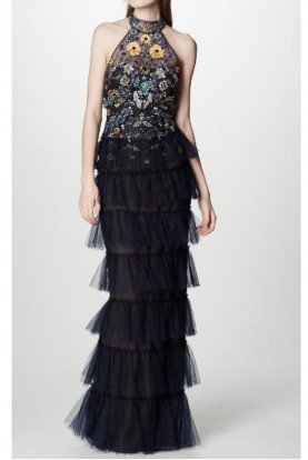 Marchesa Notte Sleeveless Beaded Tulle Evening Gown