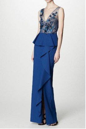 Marchesa Notte Beaded Blue Sleeveless Floral Crepe Column Gown
