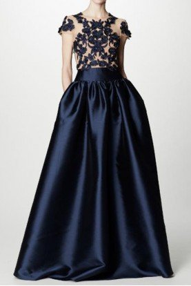 Marchesa Notte Navy Blue Cap Sleeve Mikado Ball Gown