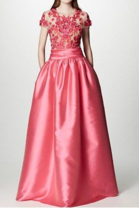 Marchesa Notte Pink Cap Sleeve Mikado Ball Gown