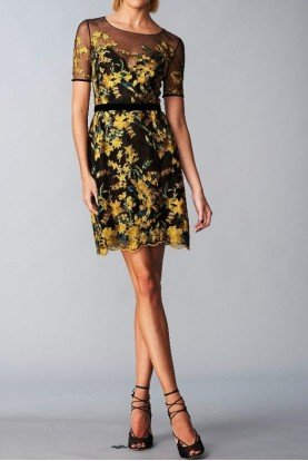 Marchesa Notte Short Sleeve Embroidered Cocktail Dress