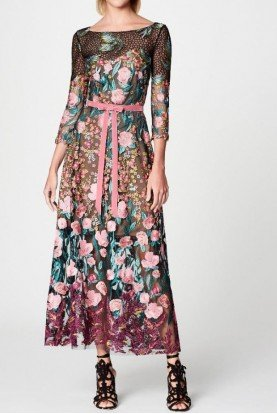 Marchesa Notte Black Floral Quarter Sleeve Midi Tea Dress