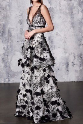 Black White Tiered Sleeveless 3D Embroidered Gown