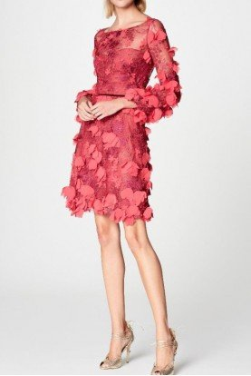 Marchesa Notte Red Long Sleeve 3D Floral Embroidered Dress