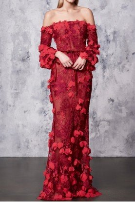 Red Off Shoulder 3D Embroidered Gown