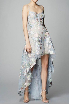 Marchesa Notte Sleeveless Tulle High Low Gown