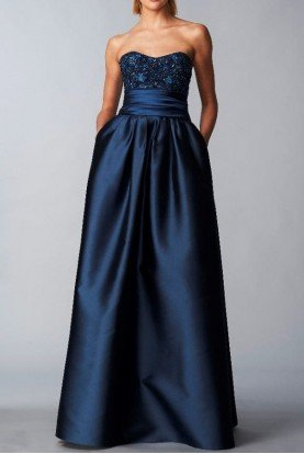 Marchesa Notte Navy Strapless Sequined Bodice Mikado Ball Gown